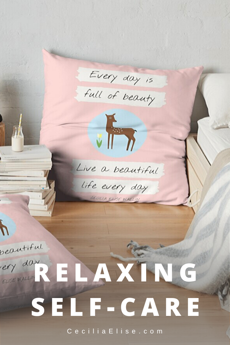 """QUOTE PILLOW Relaxing Self-Care """"Remindeer"""" (Deer) by Cecilia Elise Wallin"""